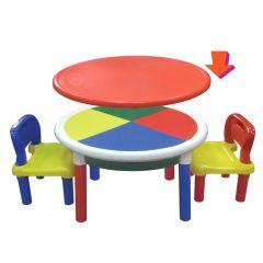 Столик детский Superplastik круглый с двумя стульчиками (игровая панель).