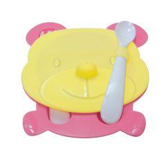 """Тарелка """"Мишка"""" с крышкой, ложкой, вилкой ТМ """"Сказка"""""""